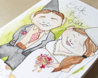 Personalized wedding card. Custom card. Gift for newlyweds. Garden gnomes. In love. Original watercolor painting. 5 x 7 in.