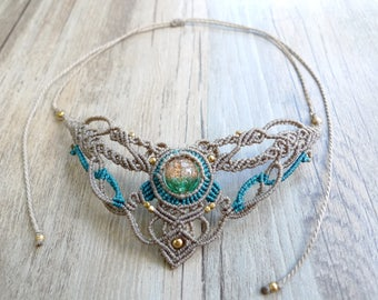 Misssheep N08-Macrame Necklace, Bohemian jewelry, Handcrafted jewelry, Unique design, Goddess jewelry, glass bead