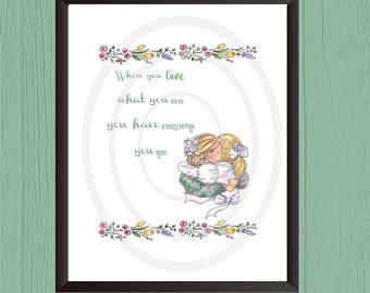 Mother Daughter Wall Art Decor Prints/(2 sizes)Mothers Day Print/Mother Appreciation print/Family wall decor/Family Wall Art/Mom Hugging