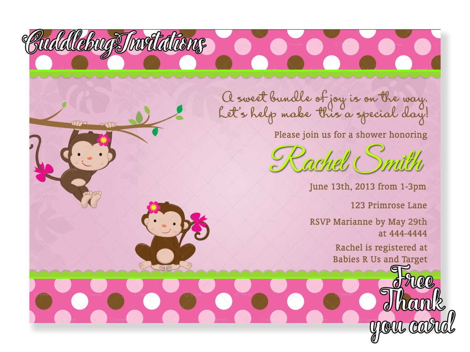 Pink monkey girl baby shower invitation pink baby girl zoom filmwisefo Image collections