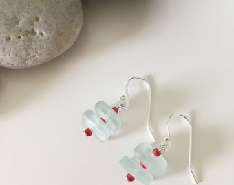Sterling Silver Sea Glass Earrings- Seafoam Dangle with Red