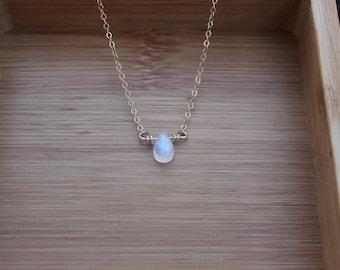 14k Rainbow Moonstone Necklace