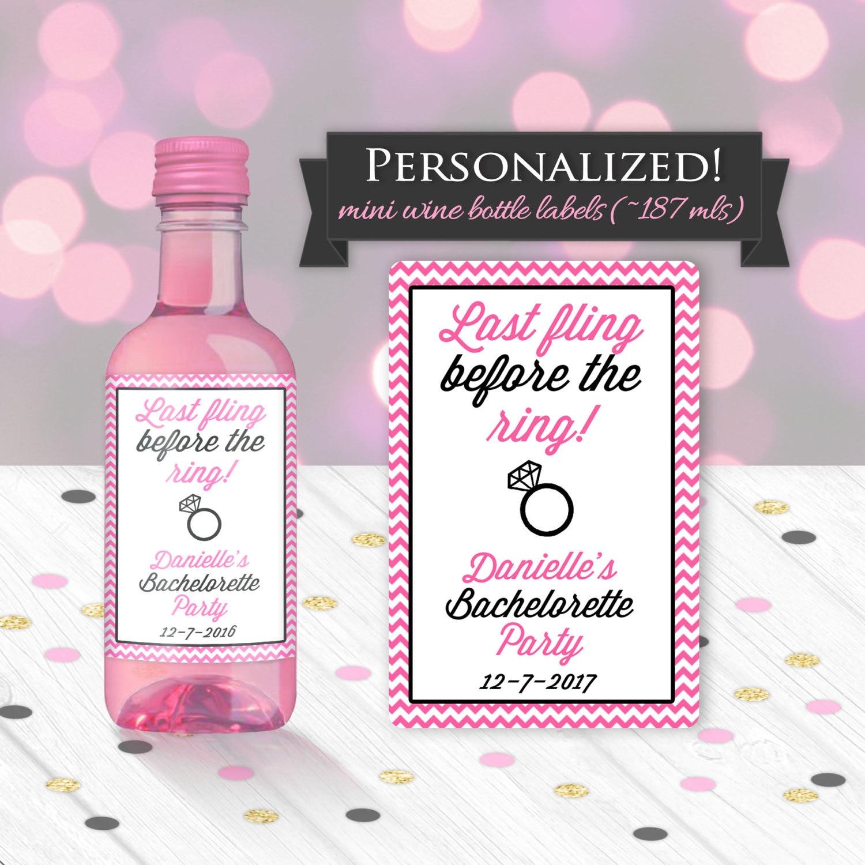 Custom Bachelorette Party Favor Mini Wine Bottle Label Bridal