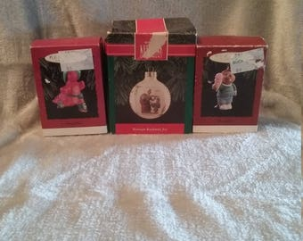 Set of 3 Hallmark Keepsake Ornaments 1994 Grandson and Daughter and 1992 Norman Rockwell