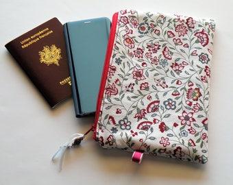 Zippered flat bag, make-up, cotton, red paper storage