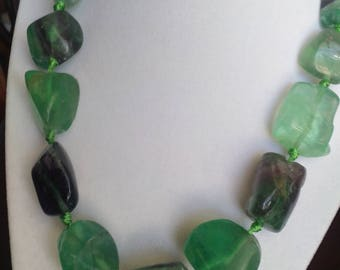 Hand Knotted Flourite Nugget Necklace