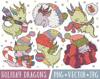 Holiday Dragon Digital Stamps, Christmas Dragon Clipart Graphics, Dragon Illustrations for Christmas, Christmas Clipart Dragons
