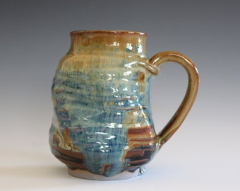 Coffee Mug Pottery, 14 oz, handthrown ceramic mug, stoneware pottery mug, unique coffee mug
