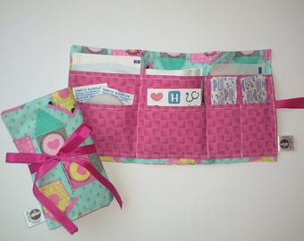 Emergency kit: first aid. Pattern hut pink pockets. Blueberry stationery collaboration. First aid dressing, boho