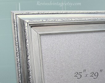 "MODERN MAGNET BOARDS Dry Erase Baord Decorative Brushed Nickel Magnetic Board Kitchen Decor 29""x25"" Office Organizer Magnetic Board"
