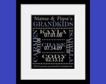 Anniversary Gift for Grandparents, Grandparent's Gift, Grandkids Names and Birthdate Print, Gift from Grandkids, Parents Get Promoted