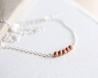 Tiny Gemstone Bar Necklace, Copper Pyrite Choker Necklace, Dainty Choker, Delicate silver Layering Necklace, Gemstone Row, Copper and Silver