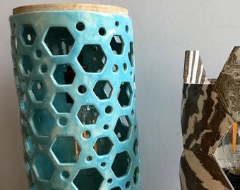 Contemporary Turquoise Hexagon Ceramic Table Lamp