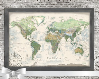World map wall art etsy world map push pin world map wall art includes the usa national parks professional cartography with terrain and ocean elevation modeling gumiabroncs Image collections
