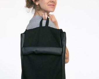 Black Backpack, Black Laptop Backpack, Faux Leather Backpack, Vegan Backpack, Men Backpack, Minimalist Backpack, Black Rucksack