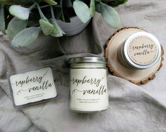 raspberry vanilla - hand poured soy candle