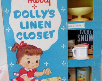 Vintage 1950s  Childs  My Merry Dolly's LINEN CLOSET  in Original Box