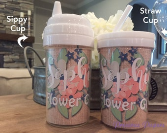 Personalized Flower Girl kids sippy cups Flower Girl sippy cups Flower girl gift, flower girl cup, glitter flower girl cup