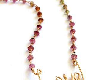 Love Necklace. Colorful Bead Necklace. Gold Love Necklace with Watermelon Tourmaline. October Birthstone Necklace. Valentines Day Gift
