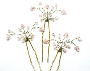 Floral Bridal Hairpins, Light Pale Pink Hair Accessory, Flower Bridesmaid Hairpiece , Hair Jewelry,  Wedding Bobby Pins, Flower Girl