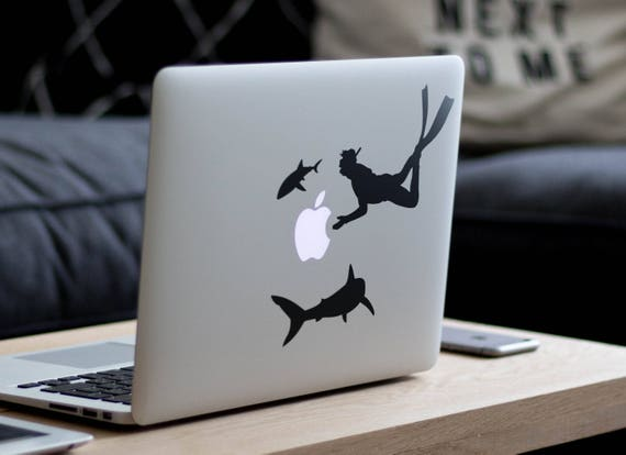 Scuba Diver Apple StealerDecal for Macbook and other Laptops, Mac, Diving Decals, Laptop Sticker, Divers, wetsuit, World, Undersea