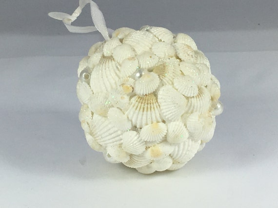 White Shell Ball Christmas Tree Ornament// Tree Ornament// Mini-White Sea Shells// Sea Shells// Authentic Shells// Home Decor//