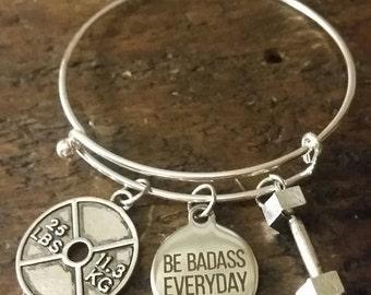 Be Badass Everyday Powerlifting Crossfit Bangle Charm Bracelet