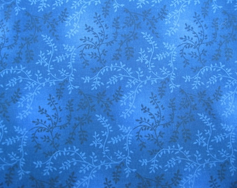 100 percent cotton fabric/blue with vines and leaves/quilting/crafts/apparel/by the yard