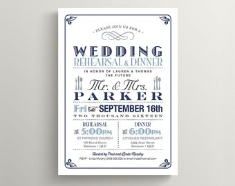 Printable Wedding Rehearsal Dinner Invitation \\ Vintage Poster design in Navy, Blue and Grey (RD35)