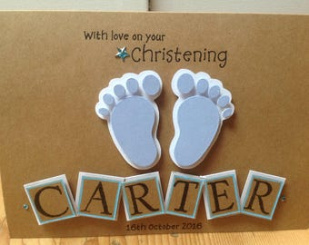 """Handmade personalised card -"""" with love on your christening"""""""