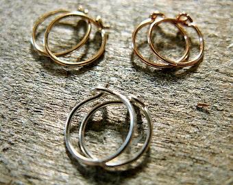 Little Hoop Earrings in Sterling Rose Yellow Gold Fill