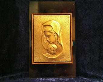 Glass, Wood And Metal Mary And Baby Jesus Statue