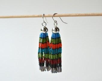 Tassel ear dangles  multicolor with silver hooks