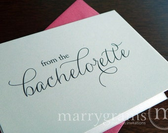 Thank You From the Bachelorette- Engagement, Bridal Shower, Bachelorette Party Thank You Cards, Hot Pink Stylish, Cute (Set of 10) CS01