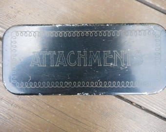 Vintage 1940s to 1960s Black/Gold Lettering Metal Sewing Attachments Hinged Box Retro Some Attachments Antique Collectibles