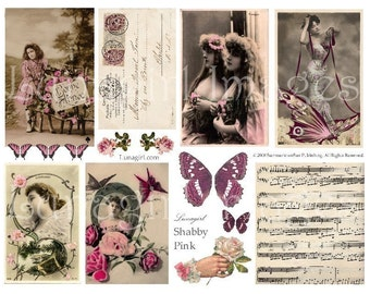 SHABBY PINK ephemera digital collage sheet, Vintage French postcards photos, Paris woman roses music butterflies altered art images DOWNLOAD
