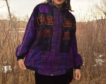 Vintage GUATEMALAN Purple Flower Hand Embroidered Guatemala Zip Up Jacket Unisex