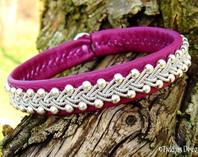 Viking Silver Jewelry SKINFAXE Swedish Sami Bracelet in silksoft Magenta Reindeer Leather, Braided Pewter and Sterling Silver Beads