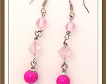 Handmade MWL long pink dangle earrings. 0080