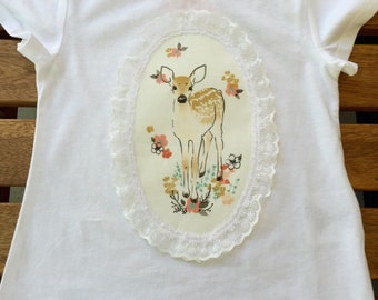 Fawn In Tulip Applique With Lace T-Shirt For Girl