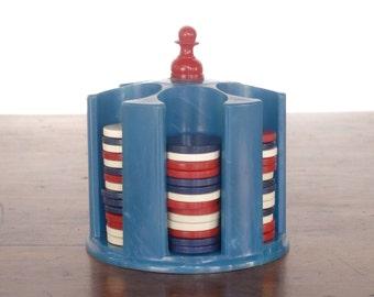 Vintage miniature poker chip carousel set, resin plastic or Bakelite, caddy, rack, gambling card game chips, red white blue, July 4th