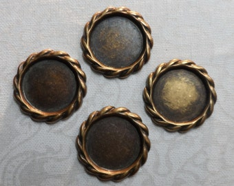 """Vintage gold plate brass 13mm stamped settings,5/8th""""diameter, 4pcs-STS40"""