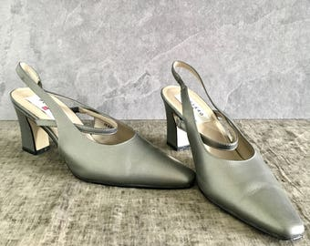 Vtg 90's Womens 8.5M Silver Slingback Mary Jane Heels Pumps Pointed Toe Heel