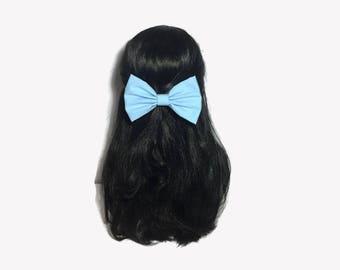 Light Blue Hair Bow, Fabric Hair Bows, Blue Hair Bows For Women, Blue Hair Clip, Bows For Girls, Blue Bow, kawaii Hair Bow, Girl Bow