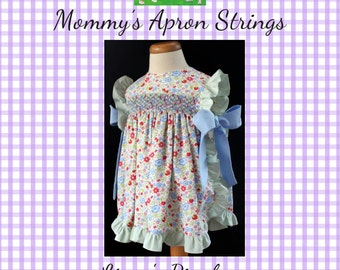 Linny's Pinafore PDF Sewing Pattern, NB-4, Instant Download, Baby, Newborn, Girl, Toddler,  Smocked or Unsmocked