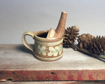 Handmade, Miniature Salt Glazed Stoneware Pottery watering can with floral decoration