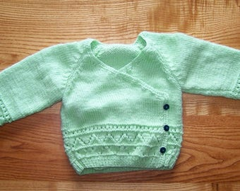 wrap-hand knitted baby vest