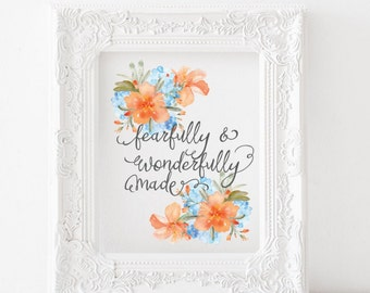 Fearfully and wonderfully made Print, Psalm 139 Printable, Fearfully mae Printable, Psalm 129 print, Scripture decor, bible verse art