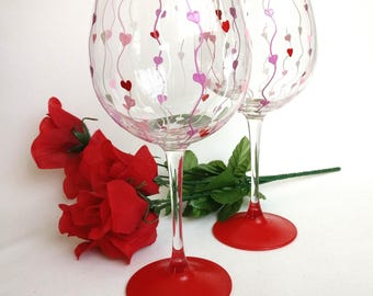 Valentine's Day Wine Glasses, Hand Painted Wine Glasses, Valentine's Day Gift, For Her, Valentine's Day Decor, 20 oz  -- Set of 2