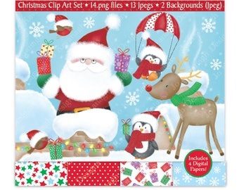 Christmas clipart-Christmas Digital Papers-Santa Clipart-Christmas Clip Art-Penguin Clipart-Rudolph Clipart-Robins-Commercial (C2)